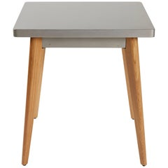55 Square Side Table in Glossy Steel with Wood Legs by Jean Pauchard & Tolix