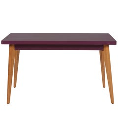 55 Table in Aubergine with Wood Legs by Jean Pauchard & Tolix