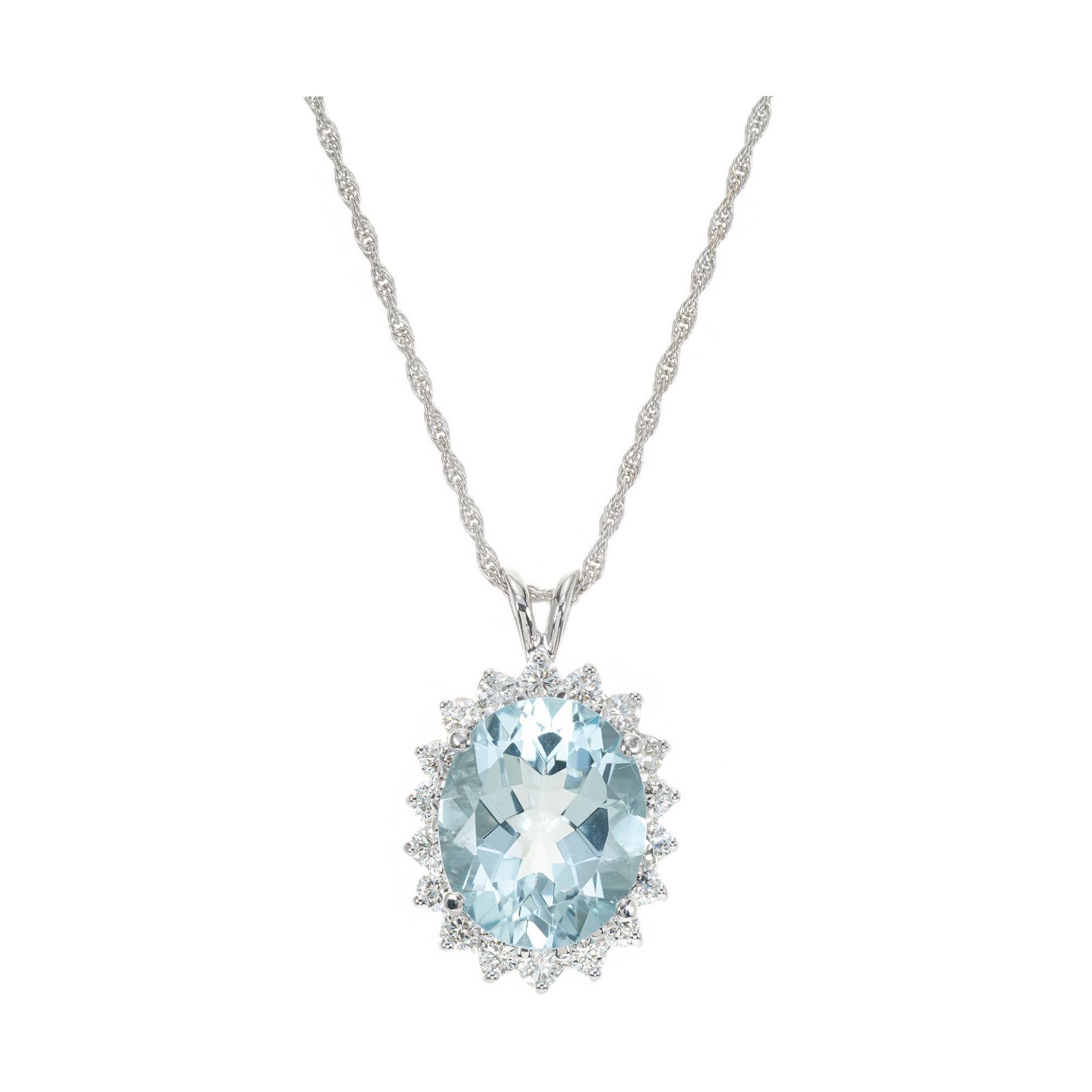 5.50 Carat Aquamarine Diamond White Gold Pendant Necklace