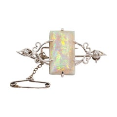 5.50 Carat Australian Solid Opal and Diamond 18 Carat White Gold Vintage Brooch