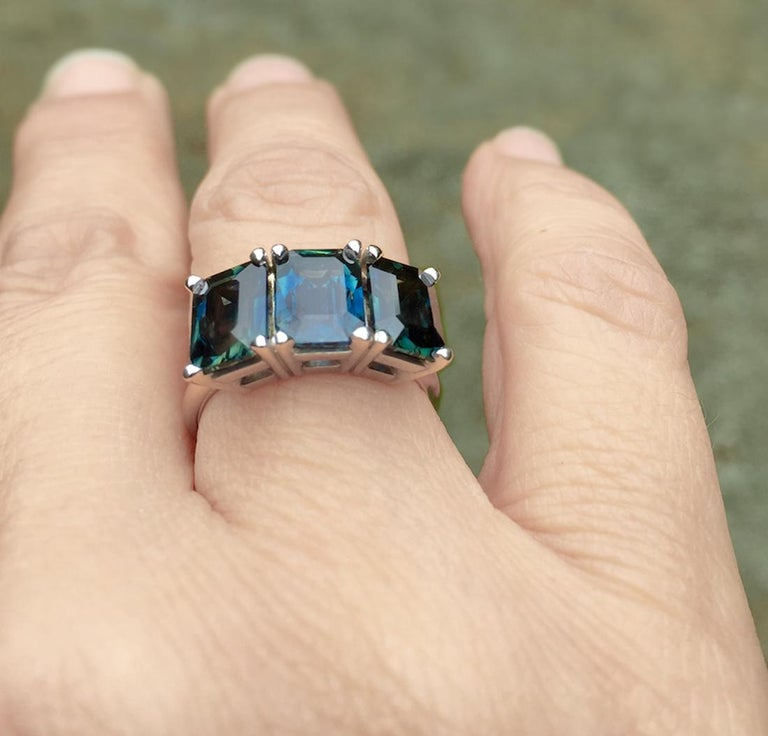 Emerald Cut 5.50 Carat Blue Natural Sapphire Three-Stone Wedding Ring White Gold For Sale