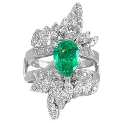 5.50 Carat Colombian Emerald Diamond Cocktail Ring 14 Karat White Gold