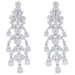 5.50 Carat Diamond 18 Karat White Gold Chandelier Earrings