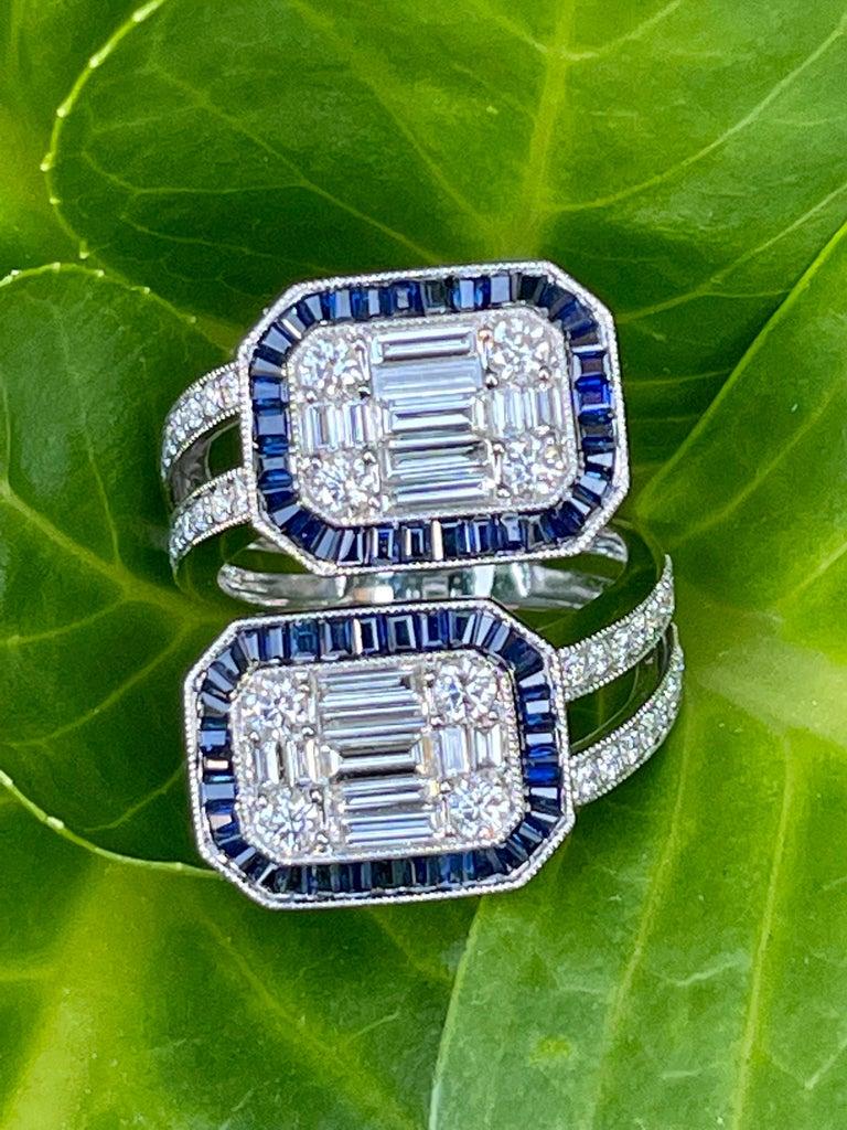 Baguette Cut 5.50 Carat Diamond and Sapphire Modern