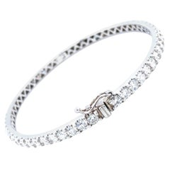 5.50 Carat Diamond Bangle All Around 14 Karat White Gold