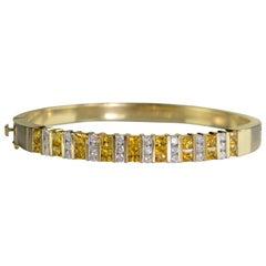 5.50 Carat Diamonds Yellow Sapphire Gold Bar Set Bangle Bracelet