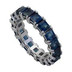 5.50 Carat Emerald Cut Blue Sapphire Eternity Wedding Band