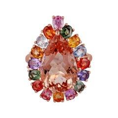 5.50 Carat Morganite & Multi Sapphire Ring Studded in 18k Rose Gold