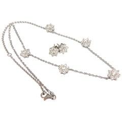 5.50 Carat Natural Diamonds Floating Cluster Earrings Necklace Suite 18 Karat
