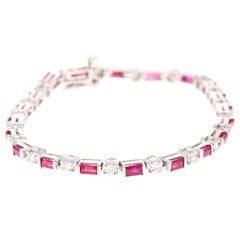 5.50 Carat Natural Ruby Diamond 14 Karat White Gold Bracelet