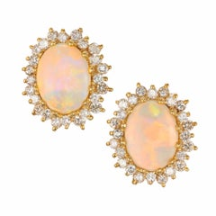 5.50 Carat Oval Opal Diamond Halo Gold Stud Earrings
