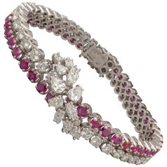 5.50 Carat Rubies and 6.50 Carat Diamonds French Vintage Bracelet