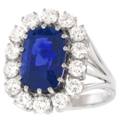 5.50 Carat Sapphire and Diamond Ring