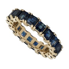 5.50 Carat Square Cut Blue Sapphire Eternity Wedding Band in Yellow Gold