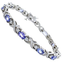 5.50 Carat Total Oval Tanzanite and Diamonds White Gold Bracelet