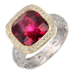 5.50 Carat Tourmaline Diamond Two-Tone Gold Cocktail Ring