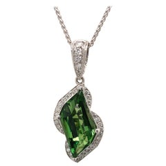 5.50 Carat Tsavorite Garnet Diamond and White Gold Pendant