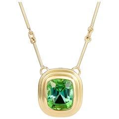5.50 Carat Vivid Cushion Cut, Green Tourmaline Gold Necklace, Gold Bar Chain