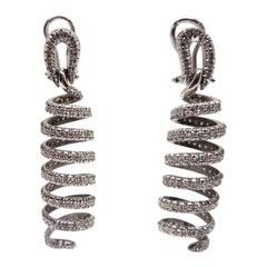 5.50 Carat White Gold Diamond Dangle Earrings