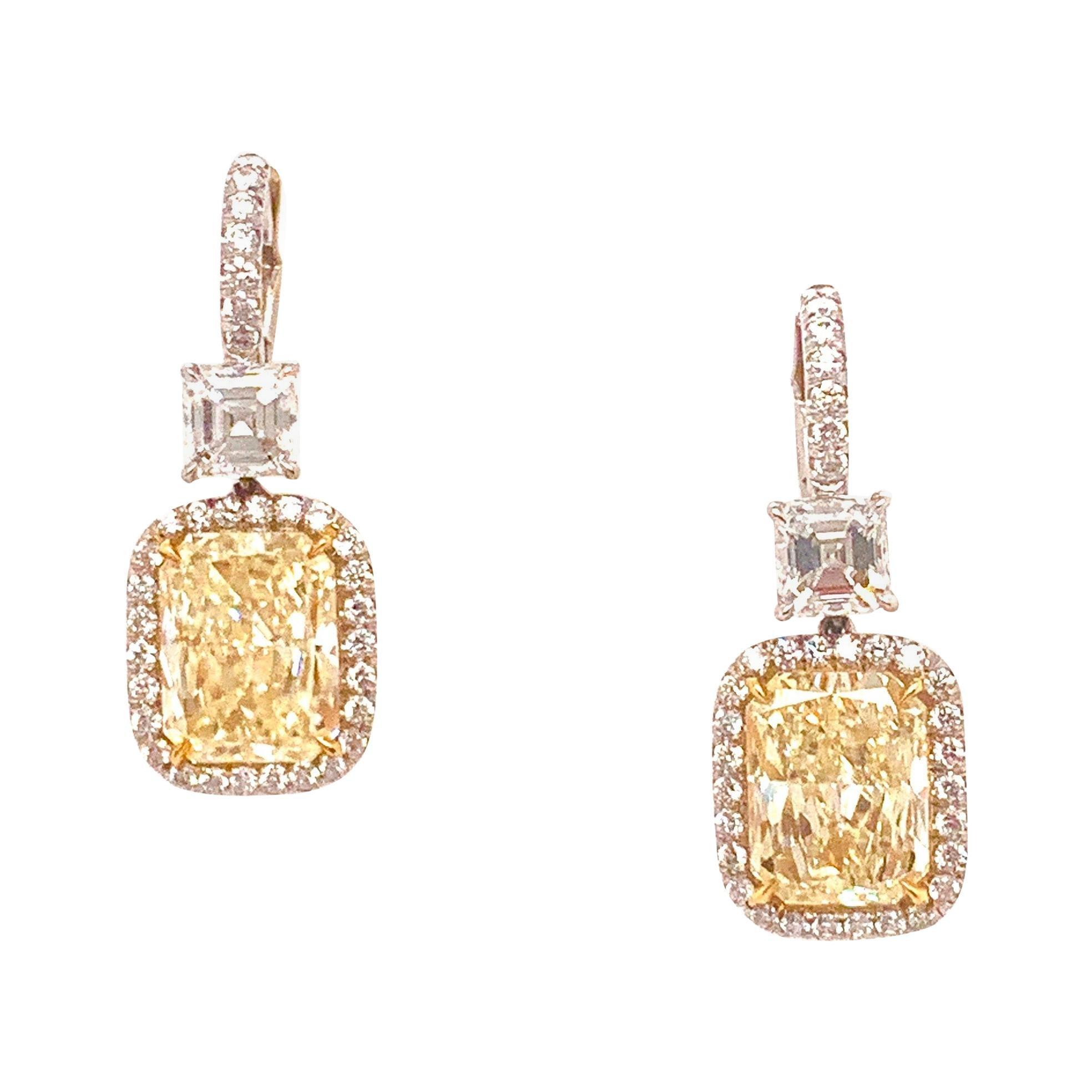 5.50 Carat Yellow Radiant Cut Diamond Halo Earrings