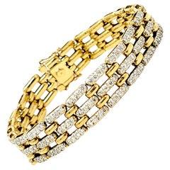 5.50 Carats Total Round Diamond Open Panther Link Bracelet 18 Karat Yellow Gold