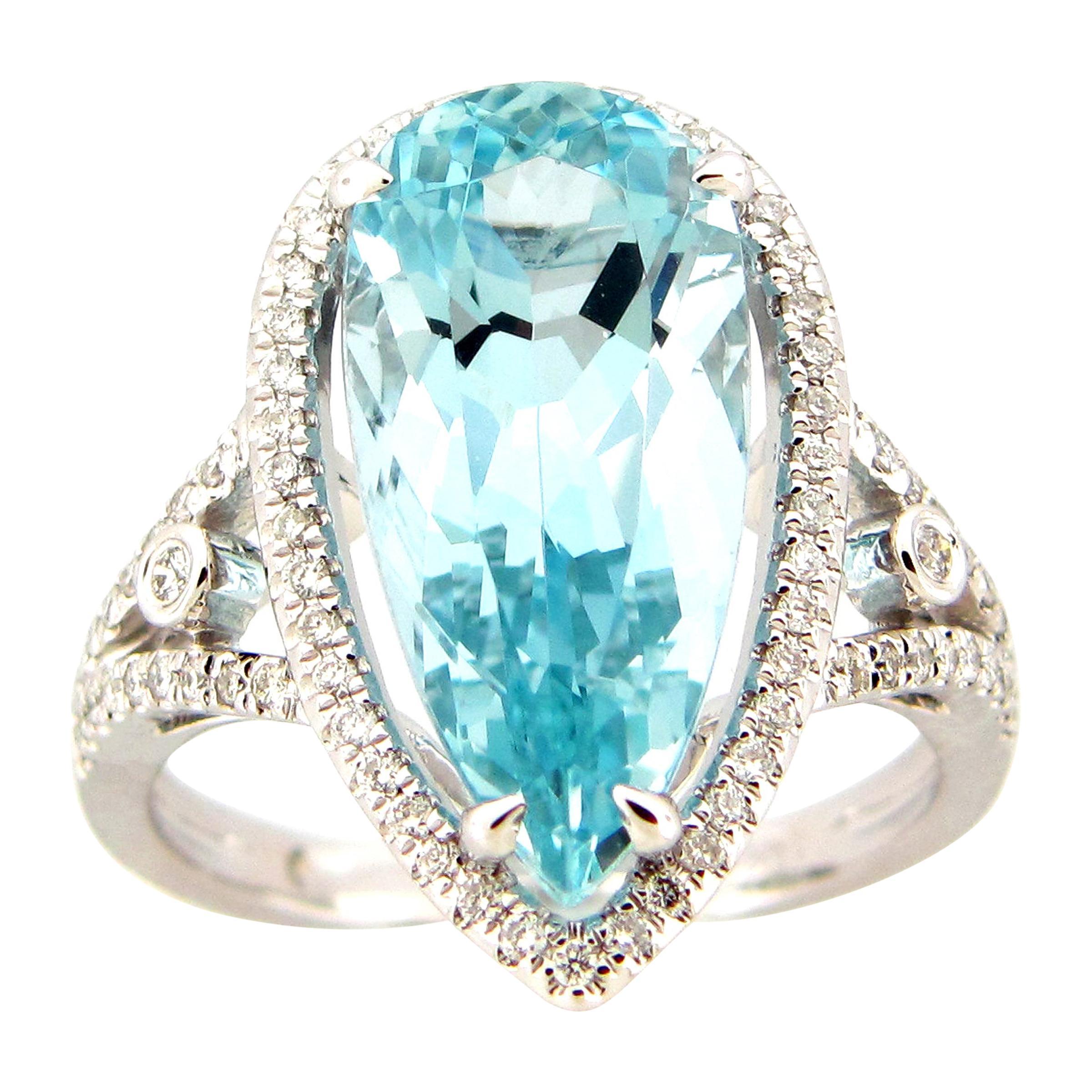 5.50 Pear Aquamarine and Diamond Cocktail Ring