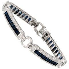 5.50 Sapphire Diamond White Gold Bracelet