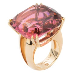 55.00 Carat Handmade Gold Cushion-Cut Hot Pink Tourmaline Cocktail Ring