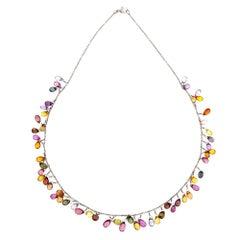 55.00 Carat Multi-Color Briolette Sapphire Gold Necklace