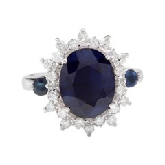 5.50ct Natural Blue Sapphire & Diamond 14k Solid White Gold Ring