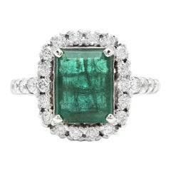 5.50ct Natural Emerald & Diamond 14k Solid White Gold Ring