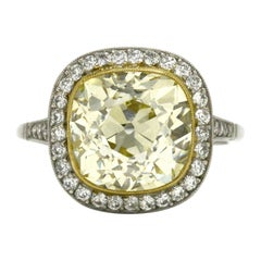 5.51 Carat Antique Yellow Diamond Engagement Ring Old Mine Cushion Edwardian