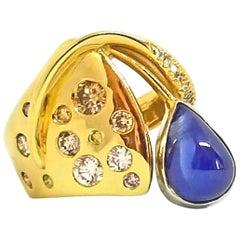 5.51 Carat Blue Sugarloaf Tear Drop Sapphire Fancy Diamond Contemporary Ring