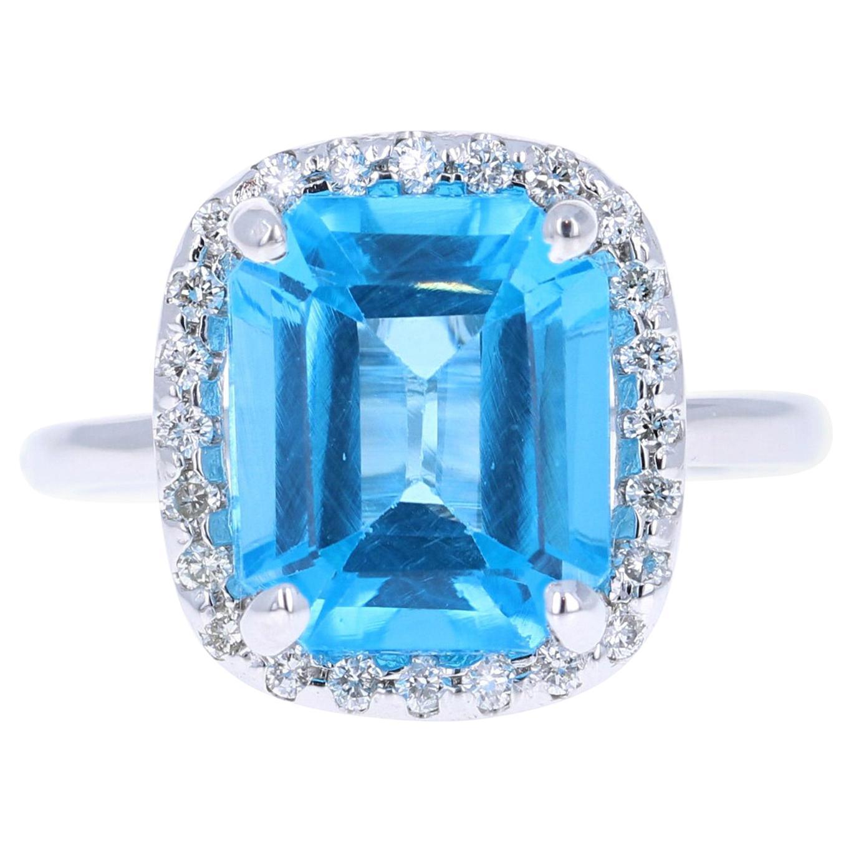 5.51 Carat Blue Topaz Diamond 14 Karat White Gold Ring