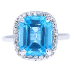 5.51 Carat Blue Topaz Diamond 14 Karat White Gold Ring