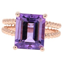 5.51 Carat Emerald Cut Amethyst Rose Gold Solitaire Ring