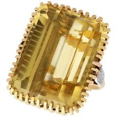 55.16 Carat Citrine and Diamond Yellow Gold Cocktail Ring, Vintage circa 1950