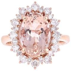 5.52 Carat Morganite Diamond Rose Gold Ring