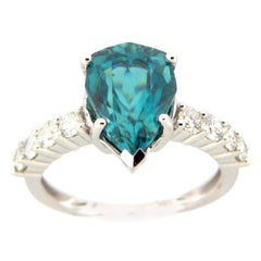 5.52 Carat Pear Blue Zircon and Diamond Cocktail Ring