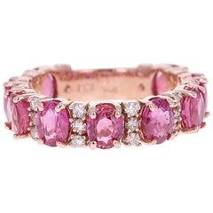 5.52 Carat Ruby Diamond 14 Karat Rose Gold Band