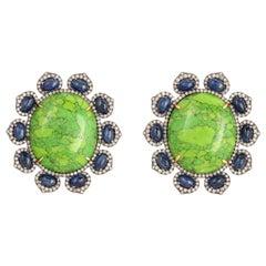 55.2 Carat Turquoise Blue Sapphire Diamond Stud Earrings