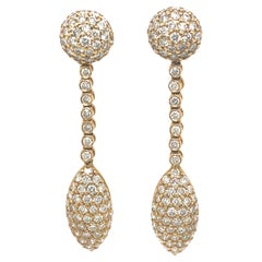 5.52ct Pave Diamond Drop Earrings 18k Yellow Gold