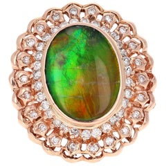 5.53 Carat Ammolite Diamond 14 Karat Rose Gold Cocktail Ring