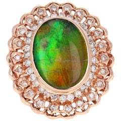 5.53 Carat Amolite Diamond Rose Gold Cocktail Ring
