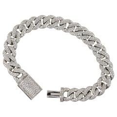 5.53 Carat Diamond Pave Cuban Link Bracelet 14 Karat in Stock