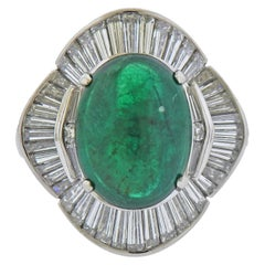 5.53 Carat Emerald Diamond Platinum Ring