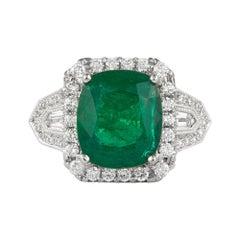 5.53 Carat Emerald with Diamond Ring 18 Karat Gold