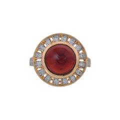 5.53 Carat Garnet Diamond 18 Karat Yellow Gold Ring