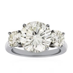 5.53 Carat Round Diamond Three-Stone Engagement Ring