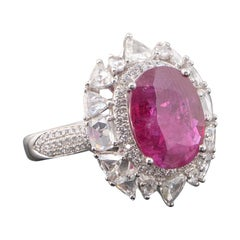 5.54 Carat Burma Ruby and Diamond Cocktail Ring